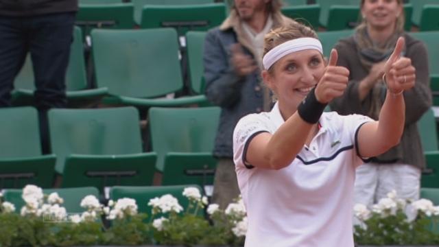 1-8 dames, Petra Kvitova (CZE-4) - Timea Bacsinszky (SUI) (6-2, 0-6, 3-6): Bacsinszky remporte ce match et se qualifie pour les quarts [RTS]