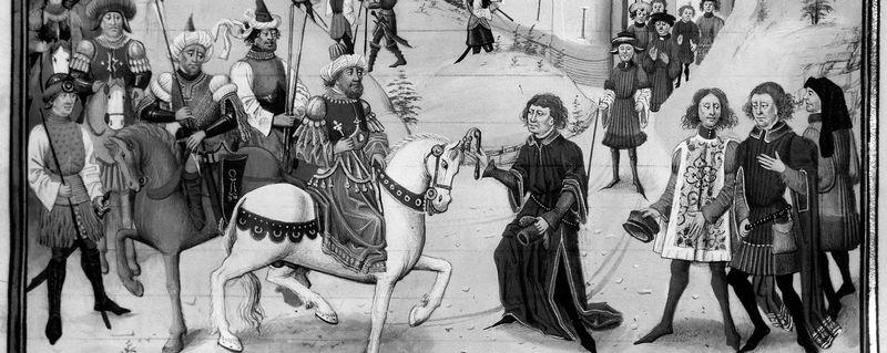 """La conquête de Jérusalem par Saladin Ier (1138-1187), en 1187. Miniature de la """"Chronique des empereurs"""", par Loyset Lieder (1462)."""