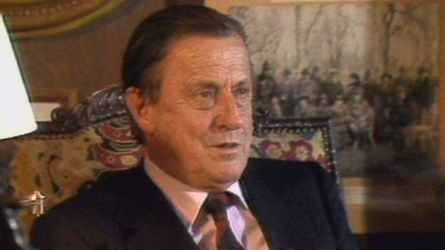 Le baron Heinrich von Thyssen dans sa villa Favorita  de Lugano en 1987. [RTS]