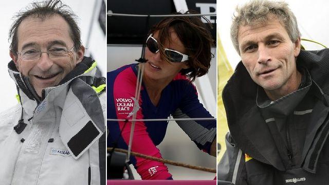 Dominique Wavre, Justine Mettraux et Bernard Stamm portent haut les couleurs de la voile suisse. [L.Gillieron/F.Bustamante/L.Gillieron - Keystone]