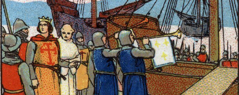 Départ du roi de France Louis IX dit Saint Louis (1214-1270) pour les croisades. Chromolithographie de 1936.