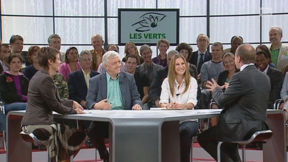 Les Verts Ueli Leuenberger et Adèle Thorens sur le plateau de Face aux partis en 2007. [RTS]