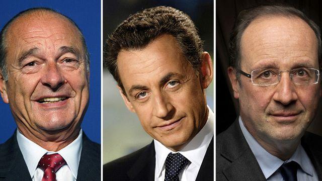 Les trois derniers présidents français, Jacques Chirac, Nicolas Sarkozy et François Hollande, (de gauche à droite). [ AFP PHOTO]