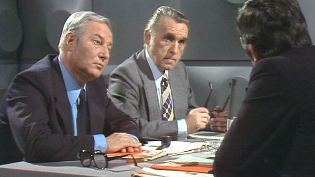Laurent Butty et Roger Mugny , deux conseillers nationaux PDC sur la sellette, 1975. [RTS]
