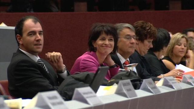 Christophe Darbellay et Doris Leuthard au Congrès du PDC en 2009. [RTS]
