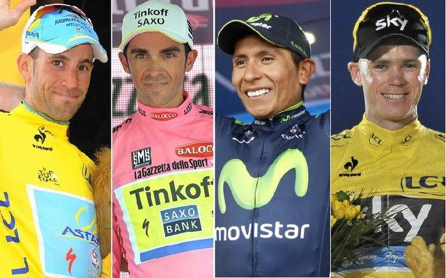Nibali, Contador, Quintana et Froome: les 4 hommes à suivre pendant le Tour de France 2015. [Keystone-Bouvy, Keystone-Zennaro, EQ-Tessot, EQ-Sirotti]