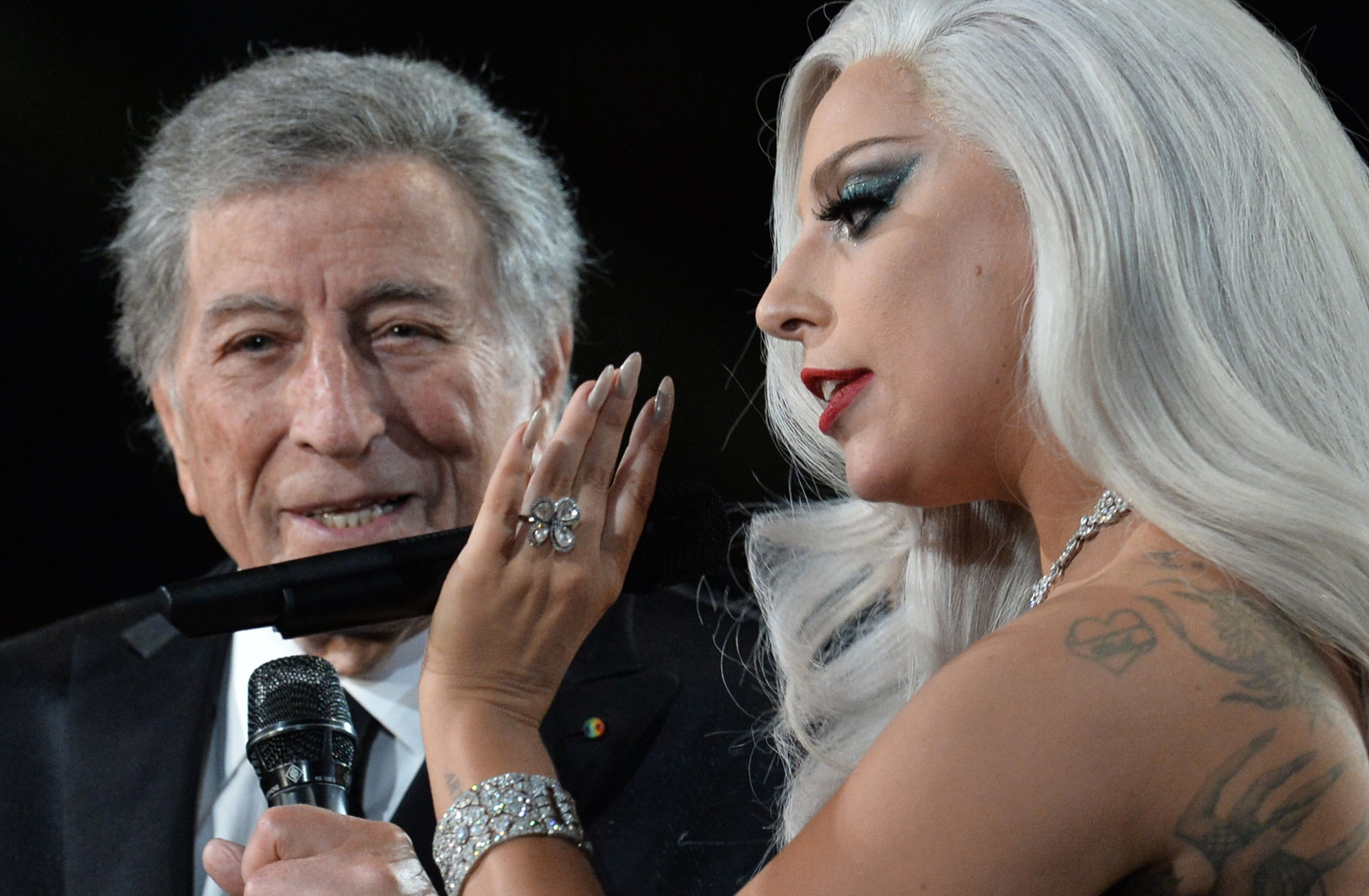 Tony Bennett et Lady Gaga en duo (ici à Los Angeles le 08.02.2015).