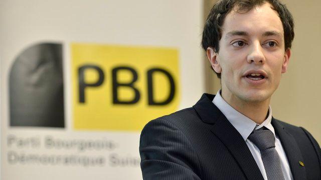 Le President du PBD Genève, Charles Piguet, candidat aux élection d'octobre, lors de la fondation de la section genevoise en 2013. [Martial Trezzini - Keystone]