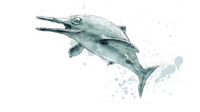 Représentation d'artiste d'un ichtyosaure. [Jurassica/ikonaut]