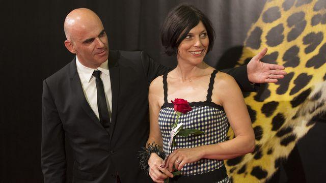 Alain Berset, accompagné de sa femme Muriel, s'exprimait en marge du Festival du film de Locarno. [Urs Flueeler - Keystone]