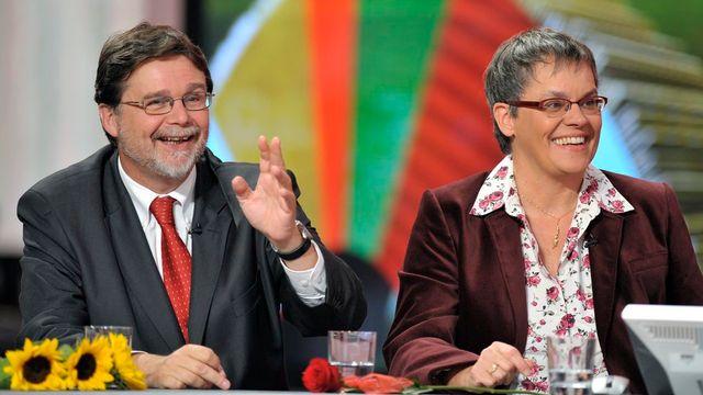 Les sortants Robert Cramer et Liliane Maury-Pasquier font liste commune pour le Conseil des Etats. [Martial Trezzini - Keystone]