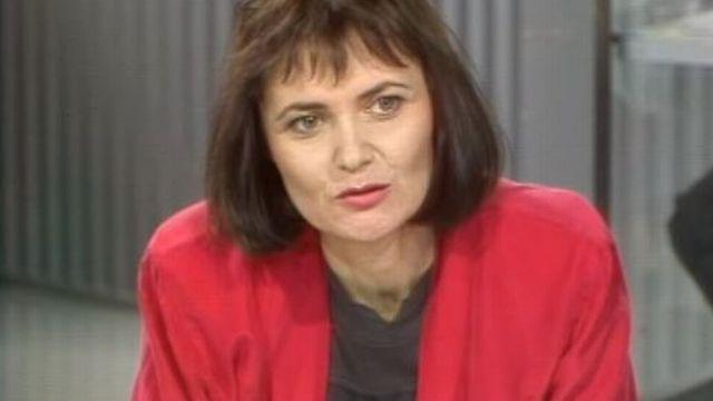Micheline Calmy Rey, présidente du PS genevois, en 1989 [RTS]