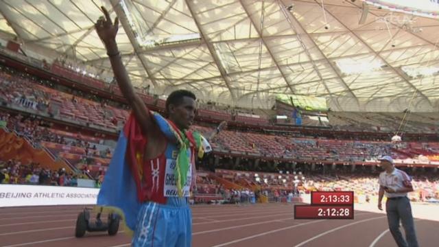 Marathon: à 19 ans, Ghirmay Ghebreslassie (ETH) devient le plus jeune champion du monde de marathon [RTS]