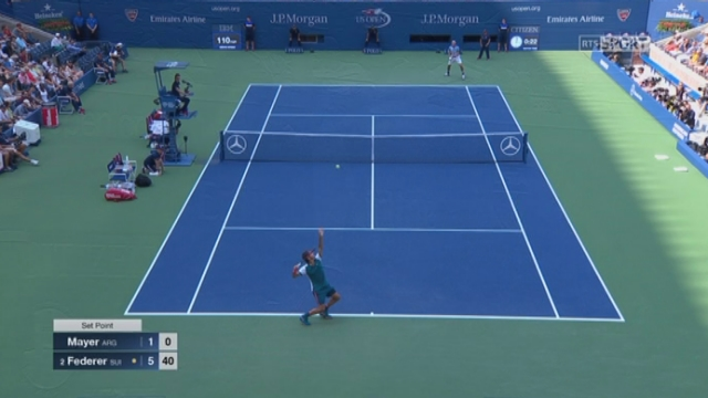 1er tour. Leonardo Mayer (ARG) – Roger Federer (SUI-2) (1-6). Impressionnant, le Suisse remporte la 1re manche [RTS]