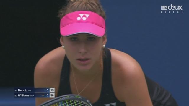 3e tour: Belinda Bencic (SUI-12) - Venus Williams (USA-23) (3-6). Belinda Bencic sauve une balle de set, mais pas la 2e (un ace de Venus Williams) [RTS]