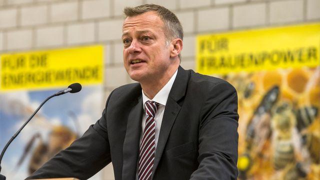 Le président du PBD Martin Landolt s'exprime devant l'assemblée des délégués, le samedi 5 septembre à Aarau. [Alexandra Wey - Keystone]