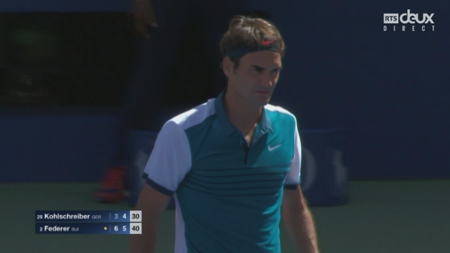 3e tour: Philipp Kohlschreiber (GER-29) - Roger Federer (SUI-2) (3-6 4-6). Une heure pour deux manches [RTS]