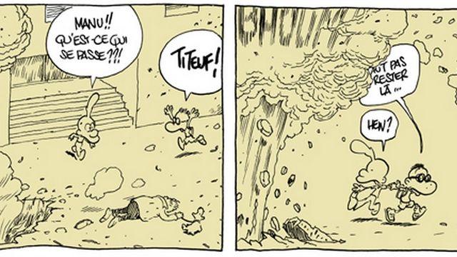 Extrait de la bande dessinée réalisée par Zep. [© http://zepworld.blog.lemonde.fr/2015/09/08/mi-petit-mi-grand/]