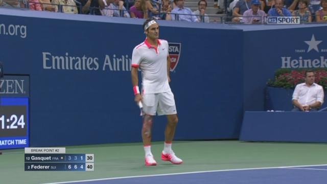 ½ Richard Gasquet (FRA-12) - Roger Federer (SUI-2) (3-6 3-6 1-5). Ce 2e break brise la résistance du Français [RTS]