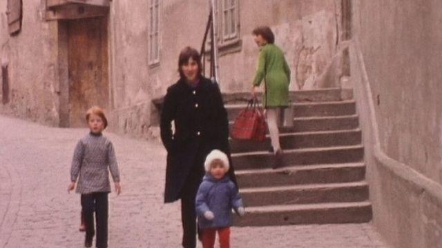 A la Rue d'Or à Fribourg en 1971. [RTS]