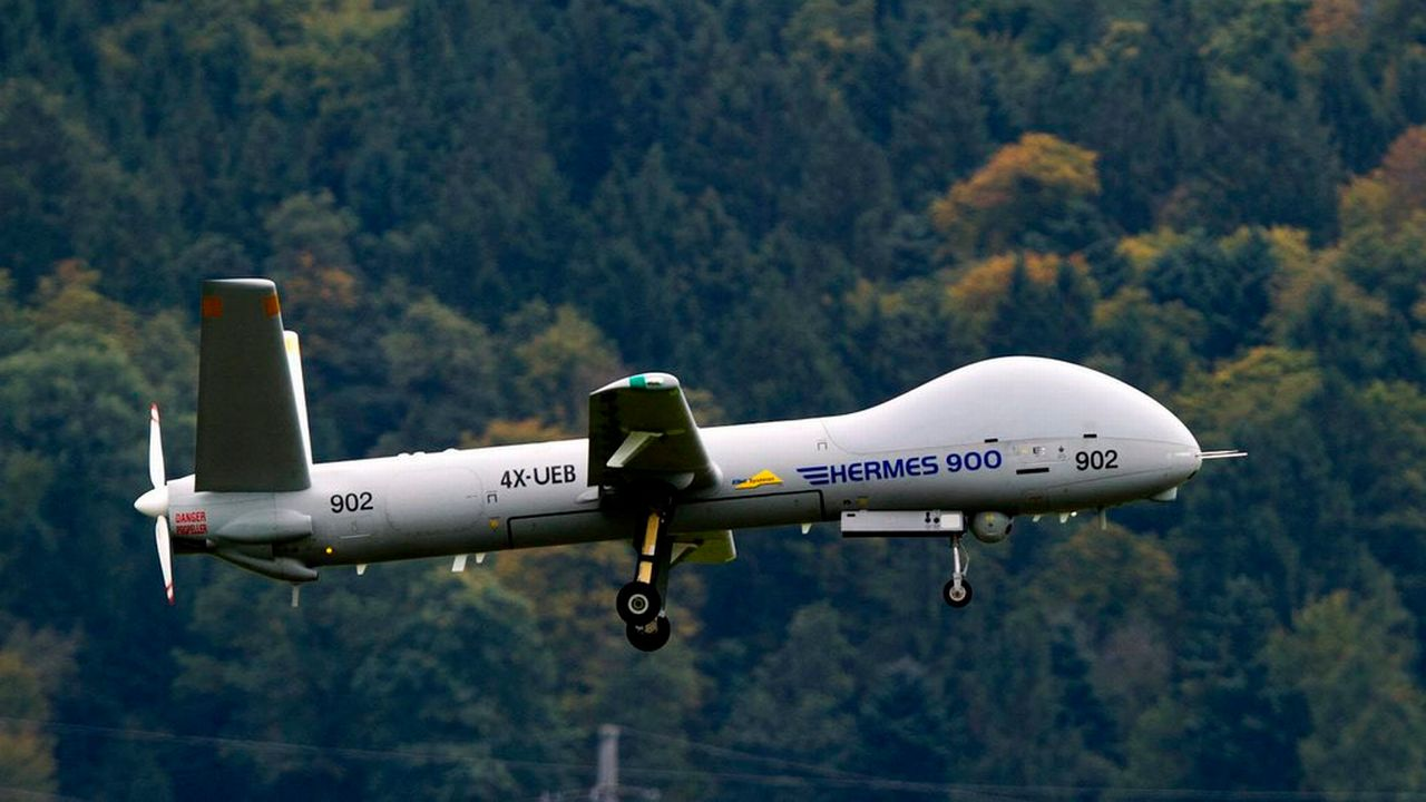 Un drone israélien de type Hermes 900. [Sigi Tischler - Keystone]