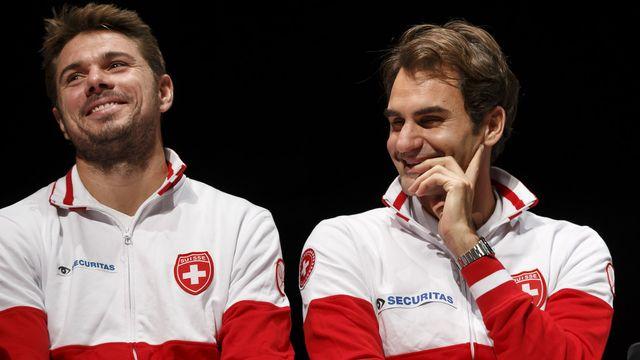 Stan Wawrinka et Roger Federer. [Salvatore Di Nolfi - Keystone]
