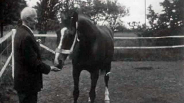 Le Général Guisan présente à la TSR un de ses chevaux.
