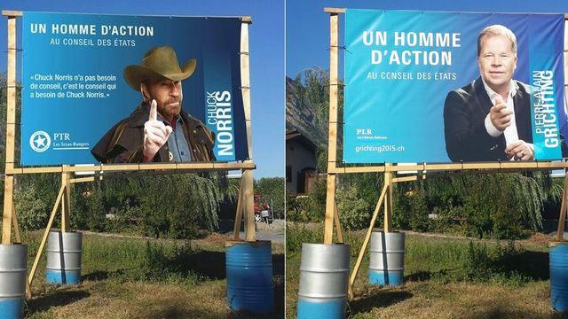L'affiche modifiée (gauche) et l'originale, installée près de Saillon (VS). [Fabrice Morciano]