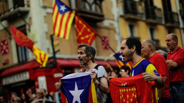 Des indépendantistes catalans. [Alvaro Barrientos - AP Photo/Keystone]