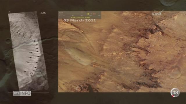 La Nasa a dévoilé que de l'eau salée s'écoule sur la planète Mars [RTS]
