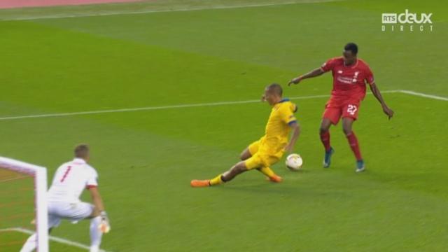Liverpool - Sion (1-1). 64e minute: Vanins sauve devant l'ultrarapide Origi, le Belge de Liverpool [RTS]