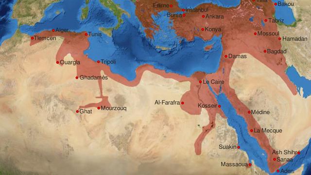 Carte de l'Empire Ottoman à son apogée, vers la fin du 16e siècle. [lynxxx  - DP]