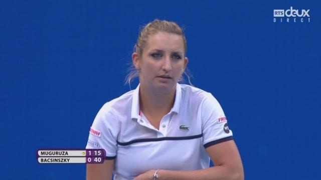 Finale: Garbiñe Muguruza (ESP-5) - Timea Bacsinszky (SUI-12) (1-1). L'Espagnole perd d'emblée aussi son engagement face à une Suissesse entreprenante [RTS]
