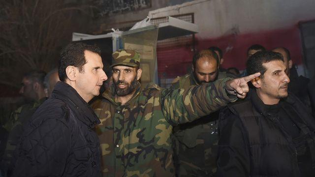 Le président syrien Bachar al-Assad à Jobar, près de Damas. [SANA (agence officielle)]
