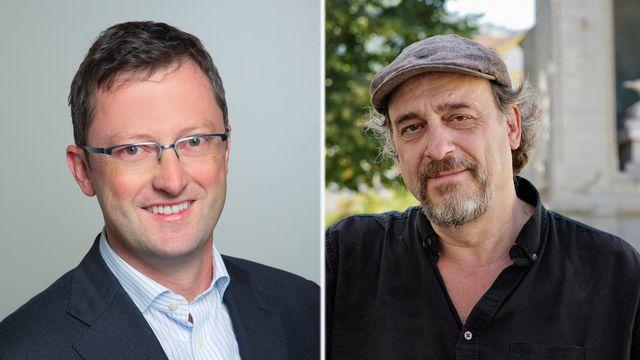 Les journalistes de la Weltwoche Peter Keller (UDC) et de la Wochenzeitung Andreas Fagetti (sans parti) s'opposent à Nidwald. [Keystone]
