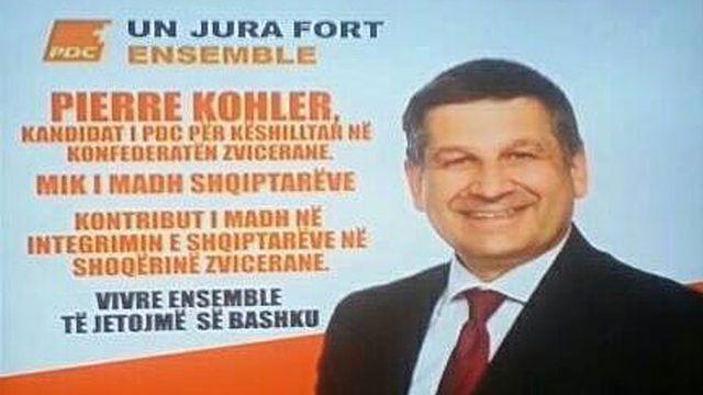 Une capture d'écran de la campagne de Pierre Kohler sur la télévision kosovare.