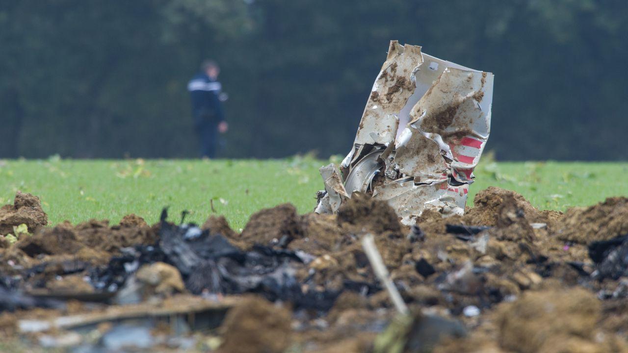 L'avion s'est écrasé dans un champ à Glamondans, dans l'est de la France. [AFP]