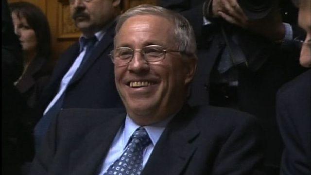Christoph Blocher au moment de son élection au Conseil fédéral, 2003. [RTS]