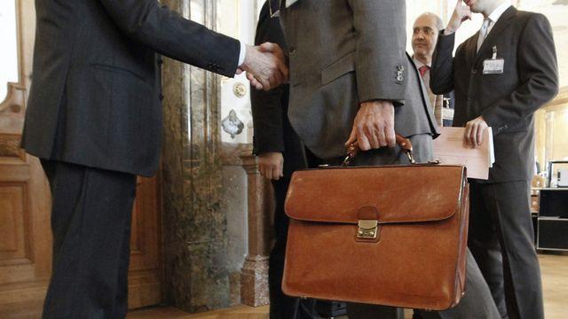 Dans la salle des pas perdus, les entreprises  rencontrent les parlementaires. [Peter Klaunzer - Keystone]