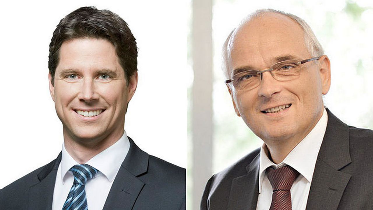 Lars Guggisberg et Pierre-Alain Schnegg. [UDC/Keystone]