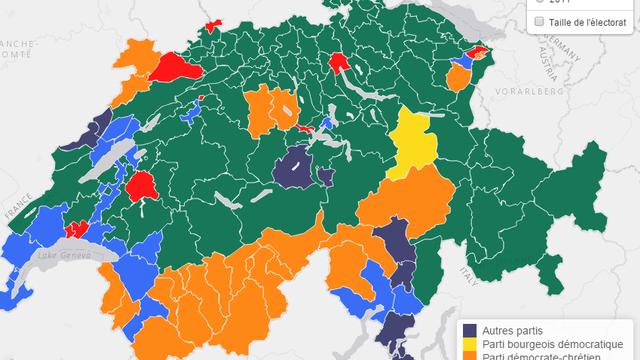 L'UDC est désormais le premier parti en termes de pourcentages de voix dans plus de 60% des districts du pays.