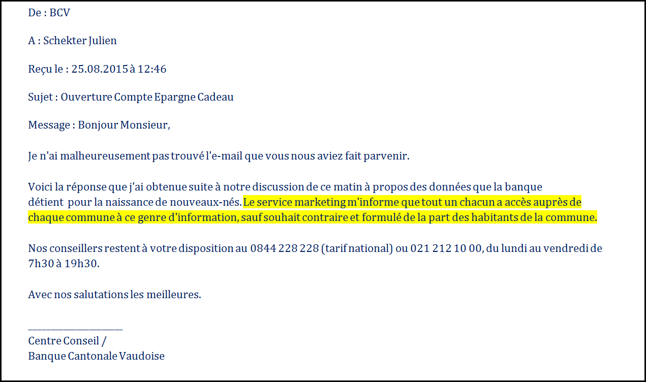 Courrier de la BCV.