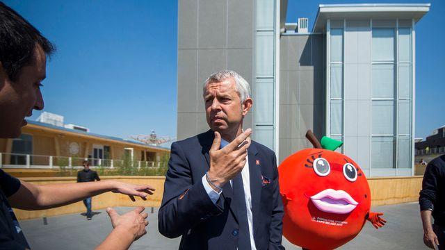 Nicolas Bideau, devant le pavillon suisse de l'Expo universelle de Milan. [Ti-Press/Samuel Golay - key]