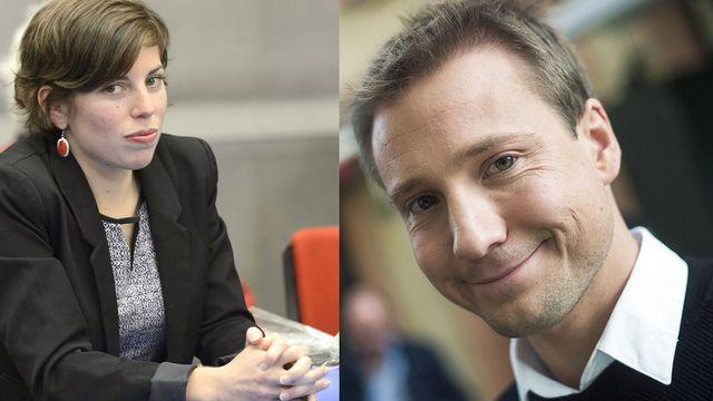 Lisa Mazzone (Verts-GE) et Philippe Nantermod (PLR-VS) sont les deux plus jeunes élus romands au Conseil national.