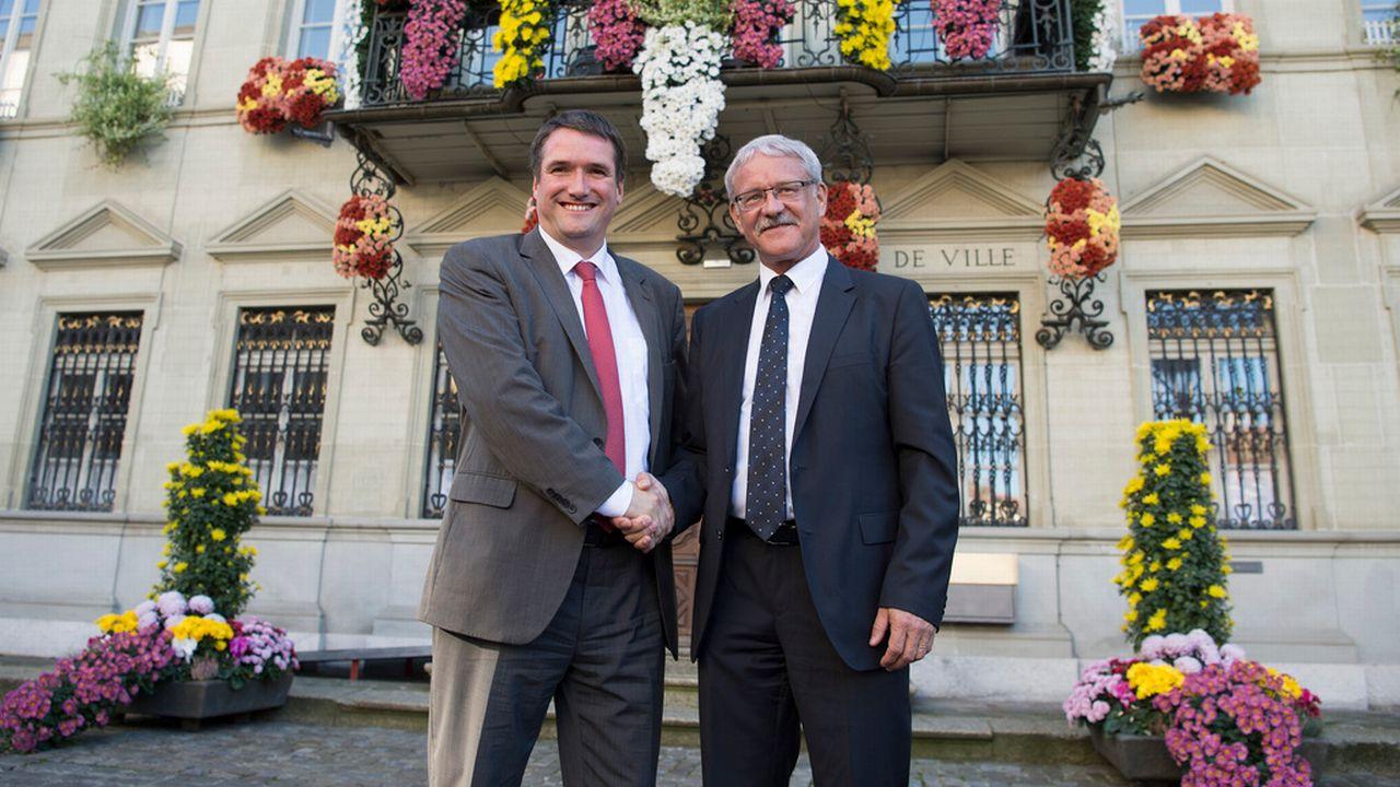 Les conseillers aux Etats fribourgeois Christian Levrat (PS) et Beat Vonlanthen (PDC). [Lukas Lehmann]