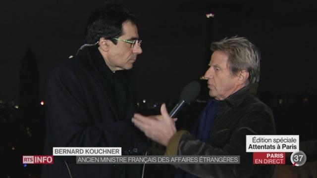 Attentats de Paris: la réaction de Bernard Kouchner, Ancien ministre français des aff. étrangères depuis Paris [RTS]
