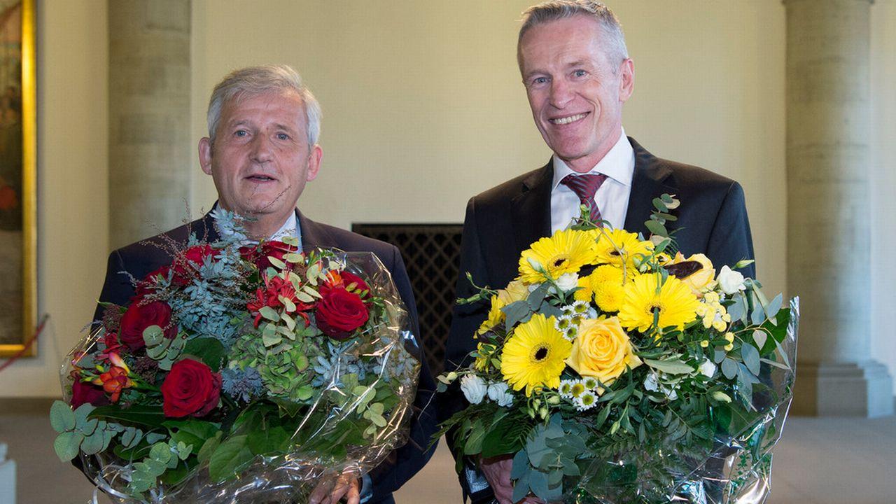 Les deux élus Hans Stöckli (à gauche) et Werner Luginbühl. [Peter Schneider - Keystone]