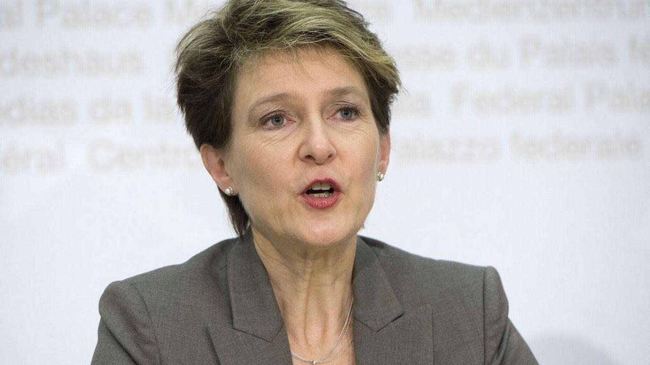 Simonetta Sommaruga a expliqué la position du Conseil fédéral devant la presse mercredi. [Dominic Steinmann - Keystone]