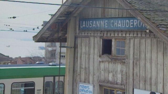 La gare provisoire du LEB à Chauderon en 1995. [RTS]
