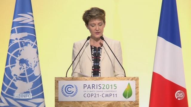 COP21: Simonetta Sommaruga a révélé au nom de la Suisse ses ambitions pour le climat [RTS]